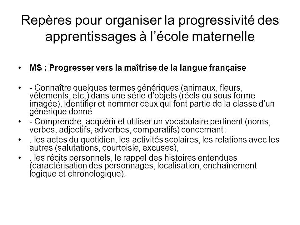 Repères pour organiser la progressivité des apprentissages à lécole maternelle MS : Progresser vers la maîtrise de la langue française - Connaître que