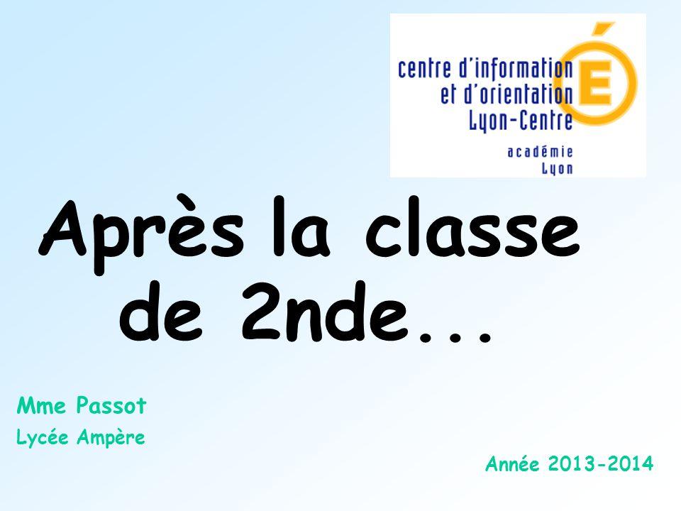 Après la classe de 2nde... Mme Passot Lycée Ampère Année 2013-2014