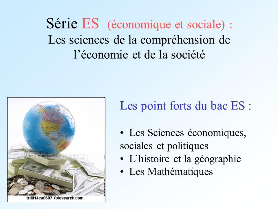 Série ES (économique et sociale) : Les sciences de la compréhension de léconomie et de la société Les point forts du bac ES : Les Sciences économiques
