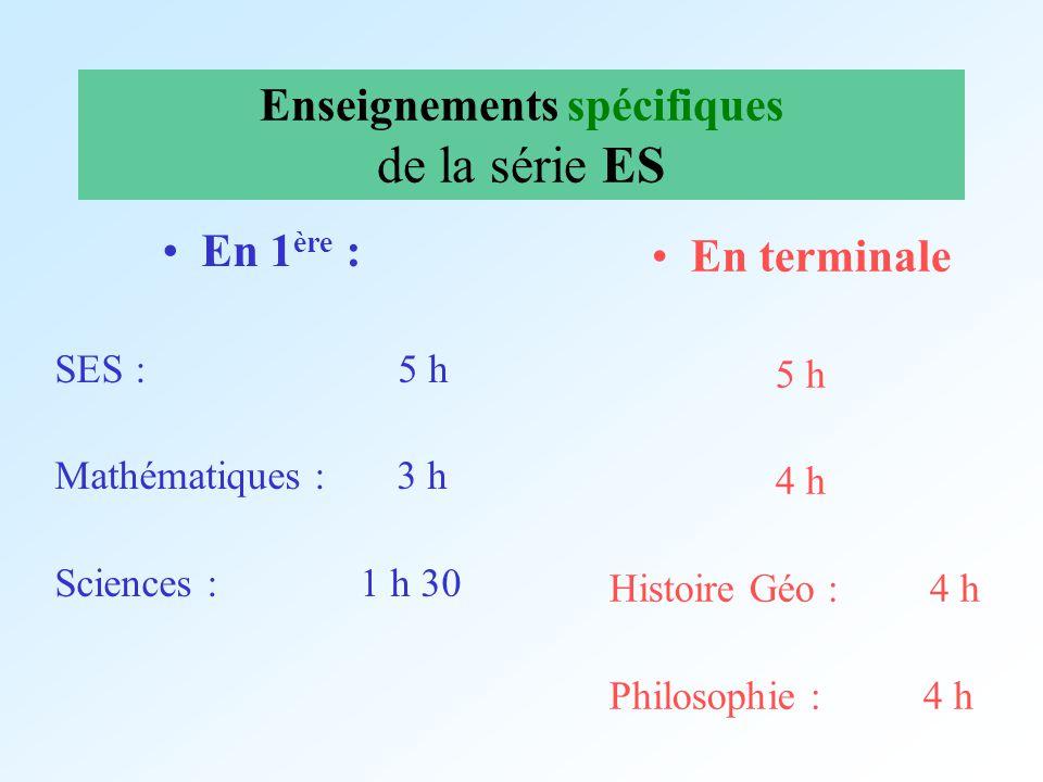 Enseignements spécifiques de la série ES En 1 ère : SES : 5 h Mathématiques : 3 h Sciences : 1 h 30 En terminale 5 h 4 h Histoire Géo : 4 h Philosophi