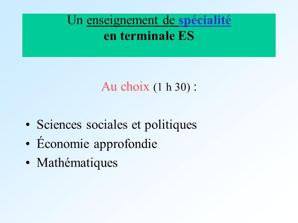 Un enseignement de spécialité en terminale ES Au choix (1 h 30) : Sciences sociales et politiques Économie approfondie Mathématiques