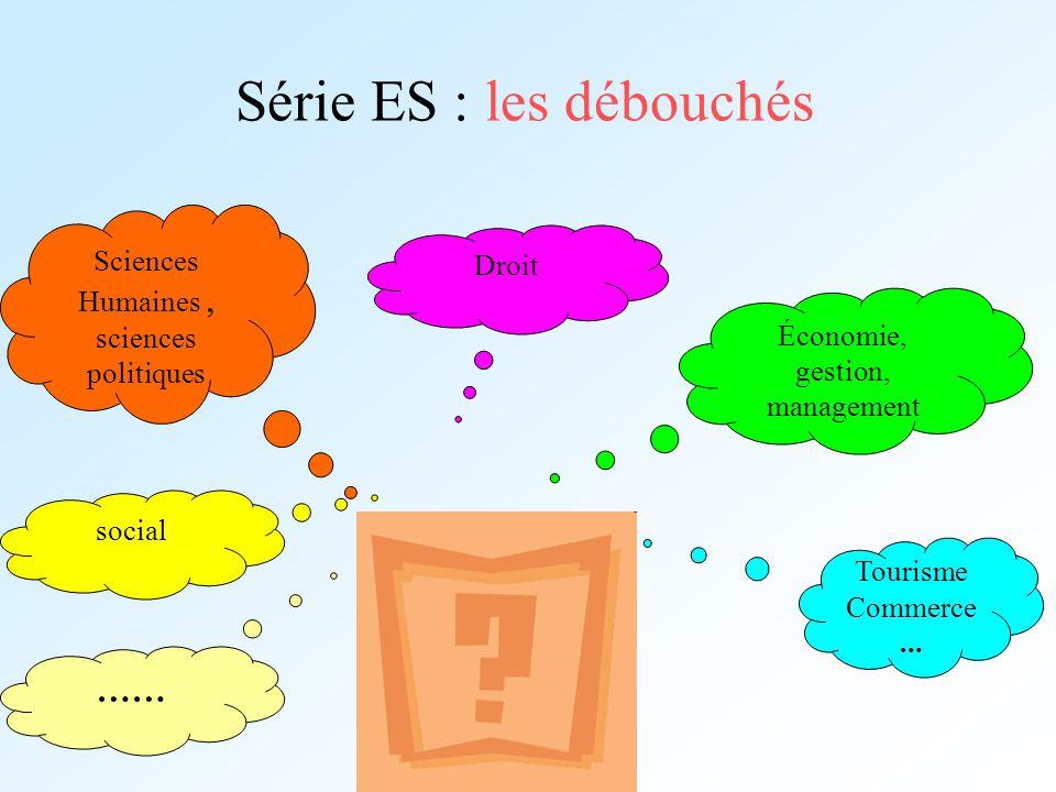 Série ES : les débouchés Droit social Tourisme Commerce... Sciences Humaines, sciences politiques Économie, gestion, management ……