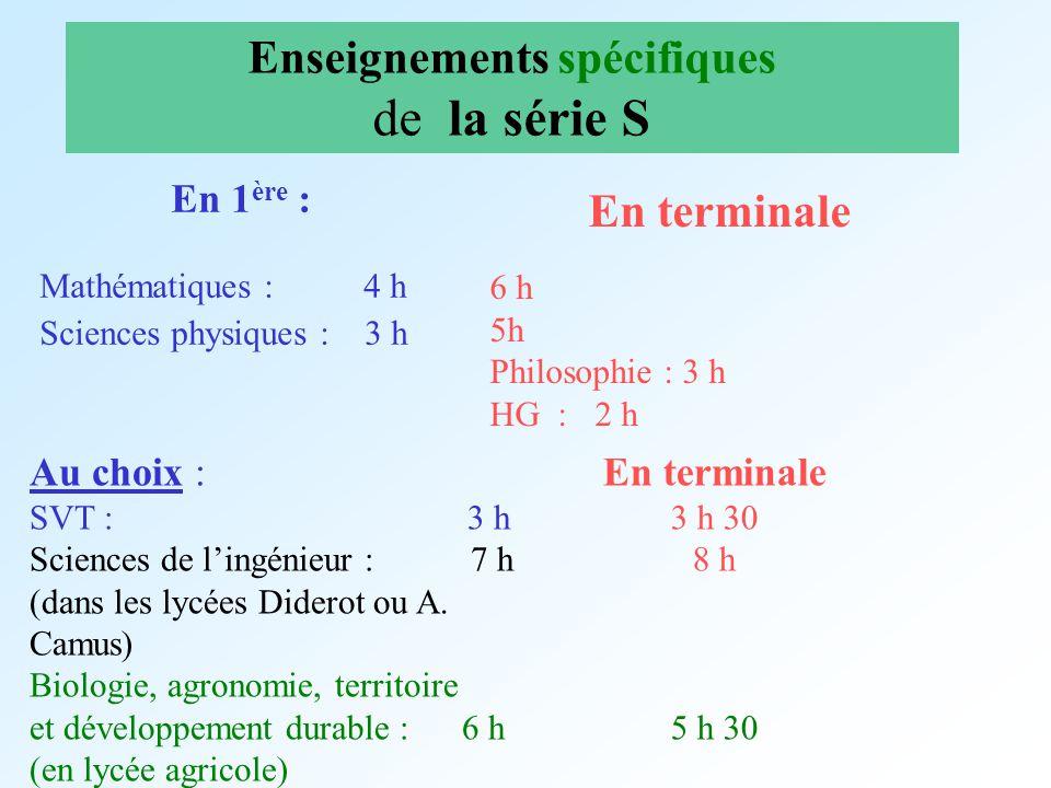 Enseignements spécifiques de la série S En 1 ère : Mathématiques : 4 h Sciences physiques : 3 h En terminale 6 h 5h Philosophie : 3 h HG : 2 h Au choi
