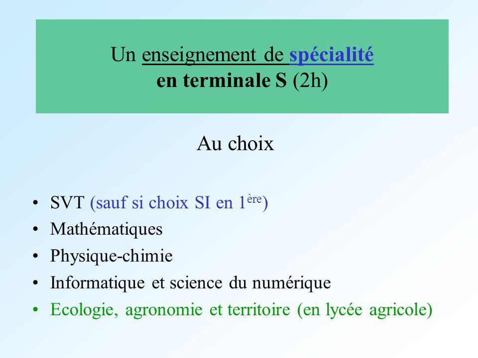 Un enseignement de spécialité en terminale S (2h) Au choix SVT (sauf si choix SI en 1 ère ) Mathématiques Physique-chimie Informatique et science du n