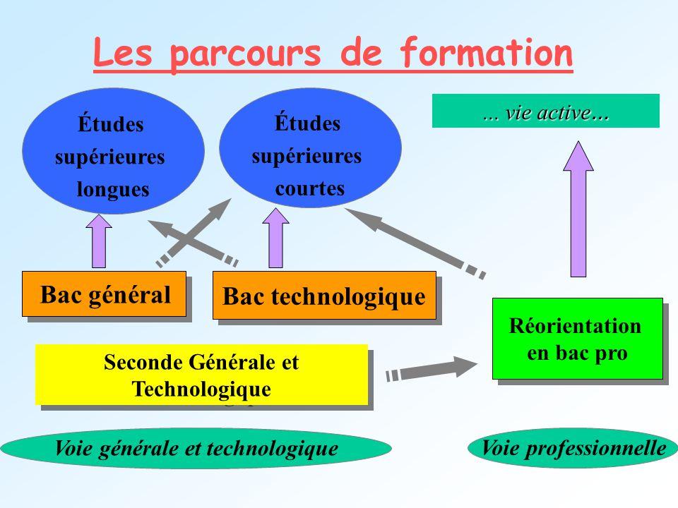 Les parcours de formation Seconde Générale et Technologique Bac général Bac technologique Voie générale et technologique Voie professionnelle... vie a