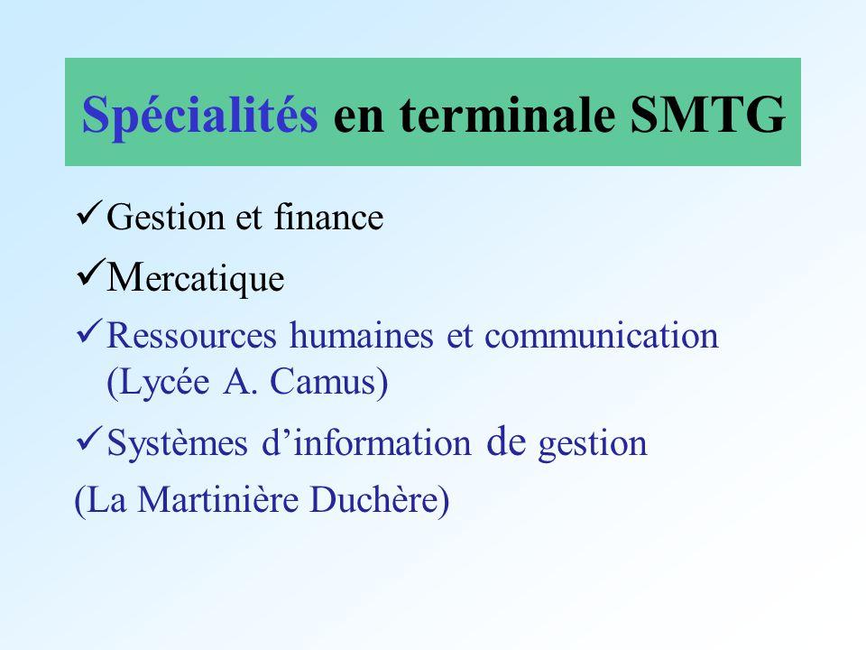 Spécialités en terminale SMTG Gestion et finance M ercatique Ressources humaines et communication (Lycée A. Camus) Systèmes dinformation de gestion (L