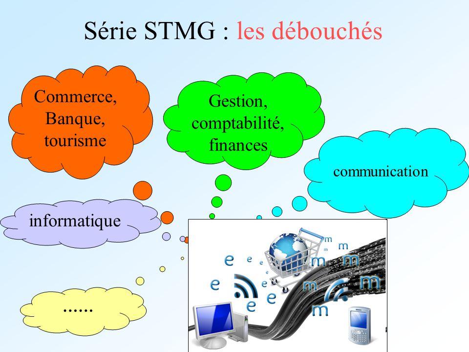 Série STMG : les débouchés communication Commerce, Banque, tourisme Gestion, comptabilité, finances informatique ……