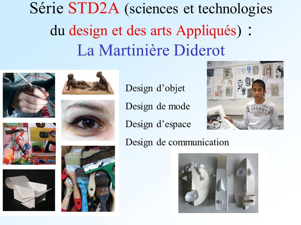 Série STD2A (sciences et technologies du design et des arts Appliqués) : La Martinière Diderot Design dobjet Design de mode Design despace Design de c