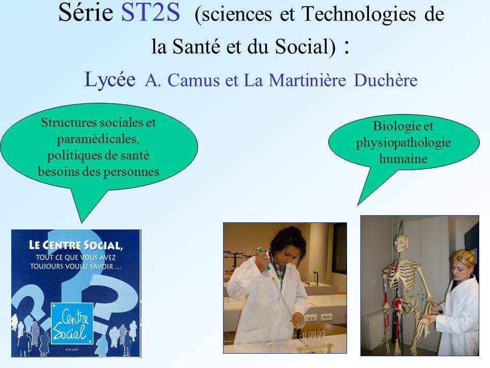 Série ST2S (sciences et Technologies de la Santé et du Social) : Lycée A. Camus et La Martinière Duchère Structures sociales et paramédicales, politiq