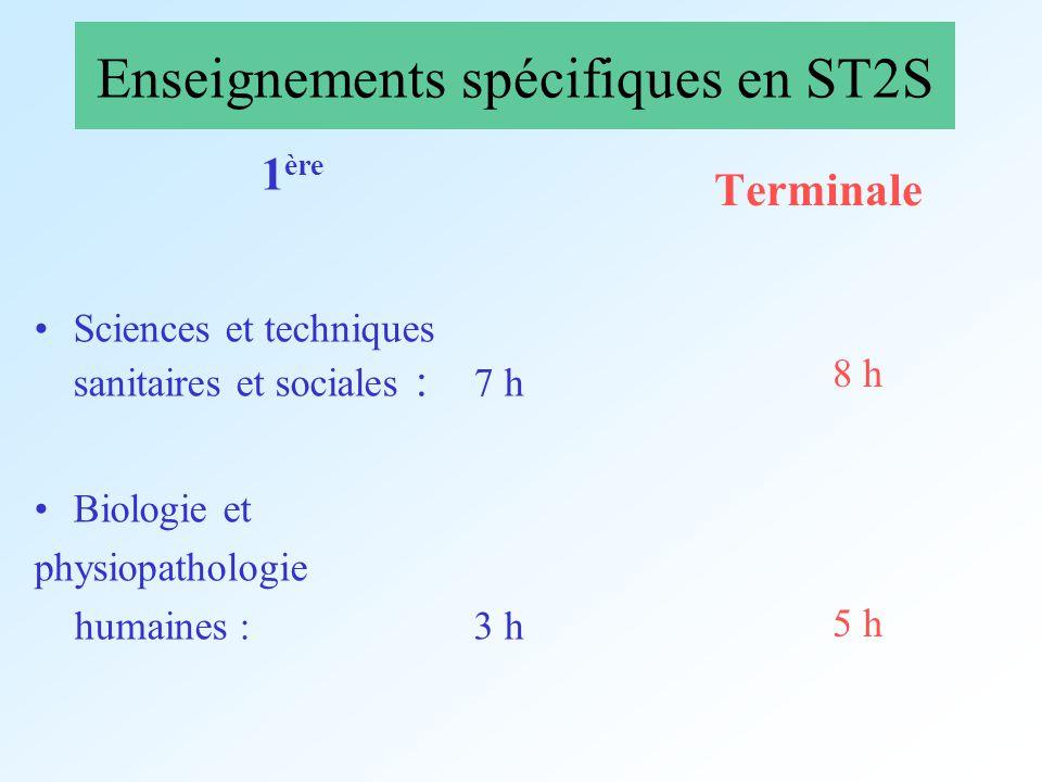 Enseignements spécifiques en ST2S 1 ère Sciences et techniques sanitaires et sociales : 7 h Biologie et physiopathologie humaines : 3 h Terminale 8 h