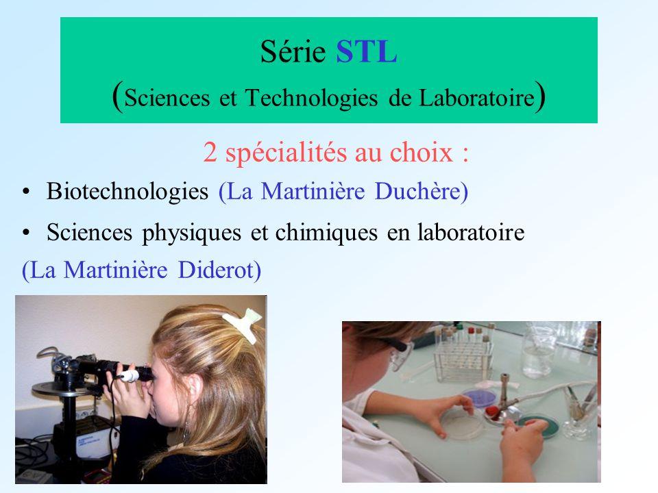 Série STL ( Sciences et Technologies de Laboratoire ) 2 spécialités au choix : Biotechnologies (La Martinière Duchère) Sciences physiques et chimiques