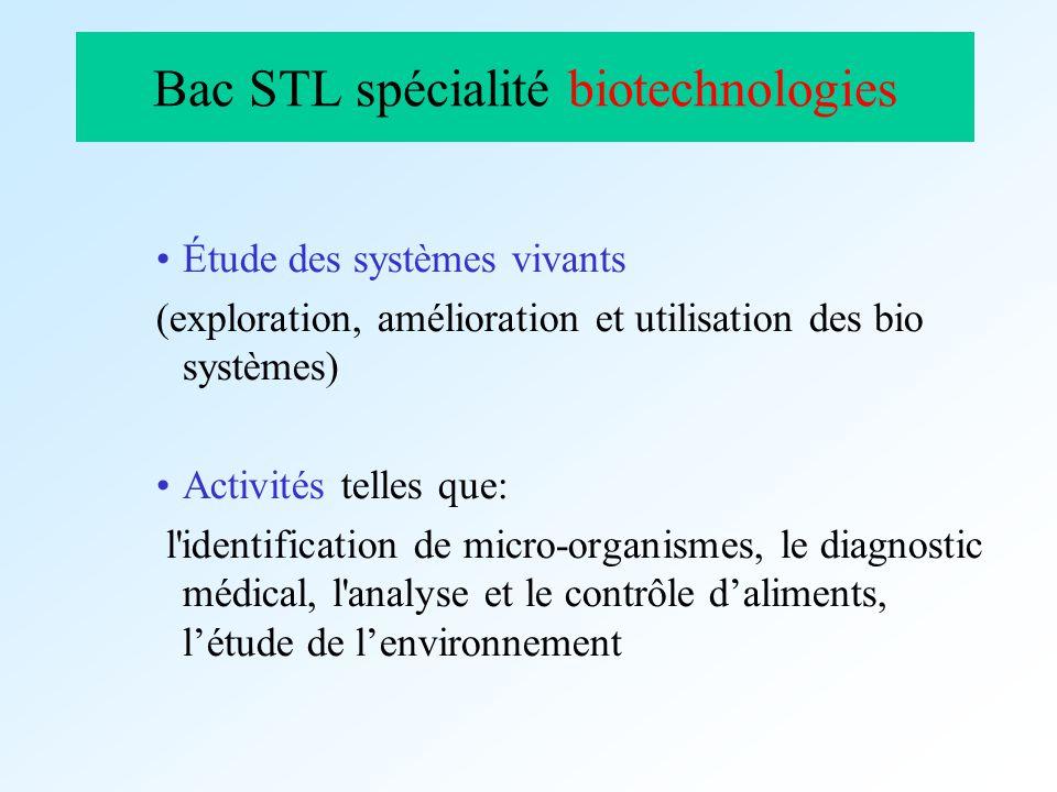 Bac STL spécialité biotechnologies Étude des systèmes vivants (exploration, amélioration et utilisation des bio systèmes) Activités telles que: l'iden