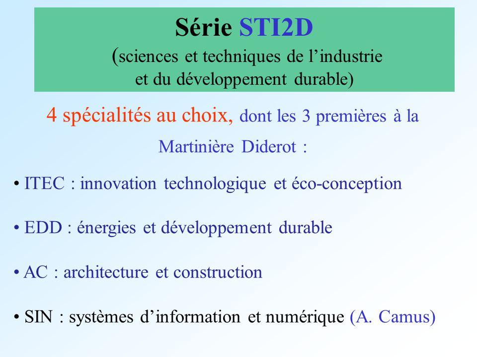 4 spécialités au choix, dont les 3 premières à la Martinière Diderot : ITEC : innovation technologique et éco-conception EDD : énergies et développeme
