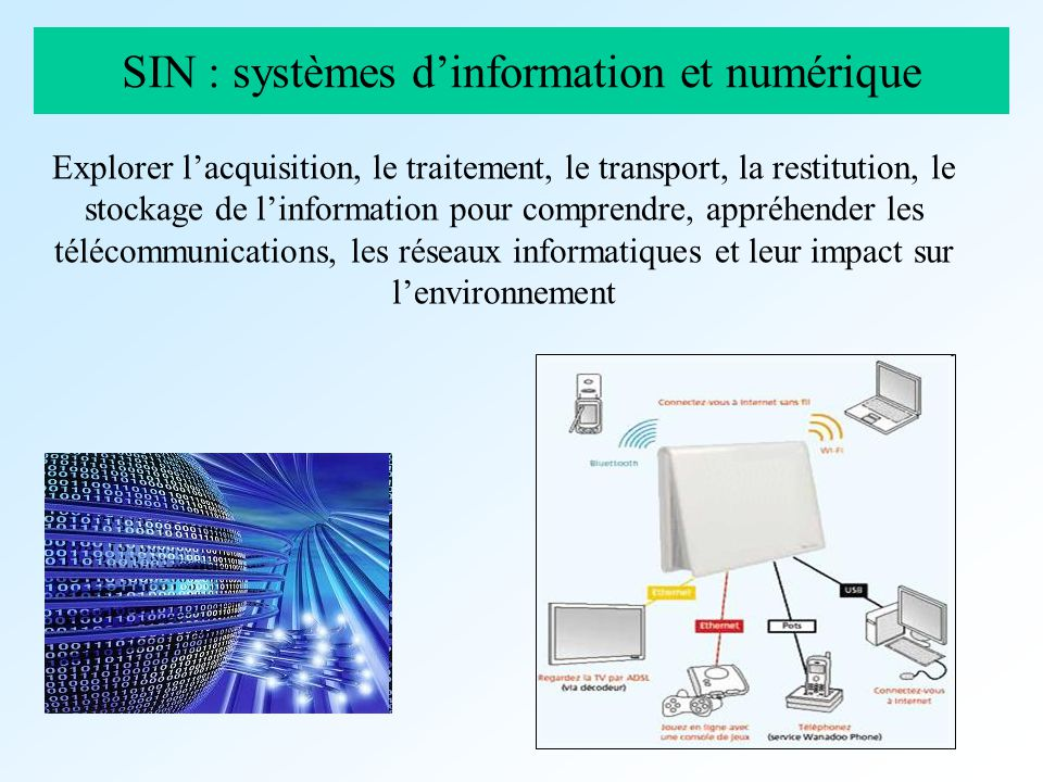 SIN : systèmes dinformation et numérique Explorer lacquisition, le traitement, le transport, la restitution, le stockage de linformation pour comprend