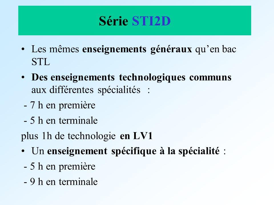 Série STI2D Les mêmes enseignements généraux quen bac STL Des enseignements technologiques communs aux différentes spécialités : - 7 h en première - 5