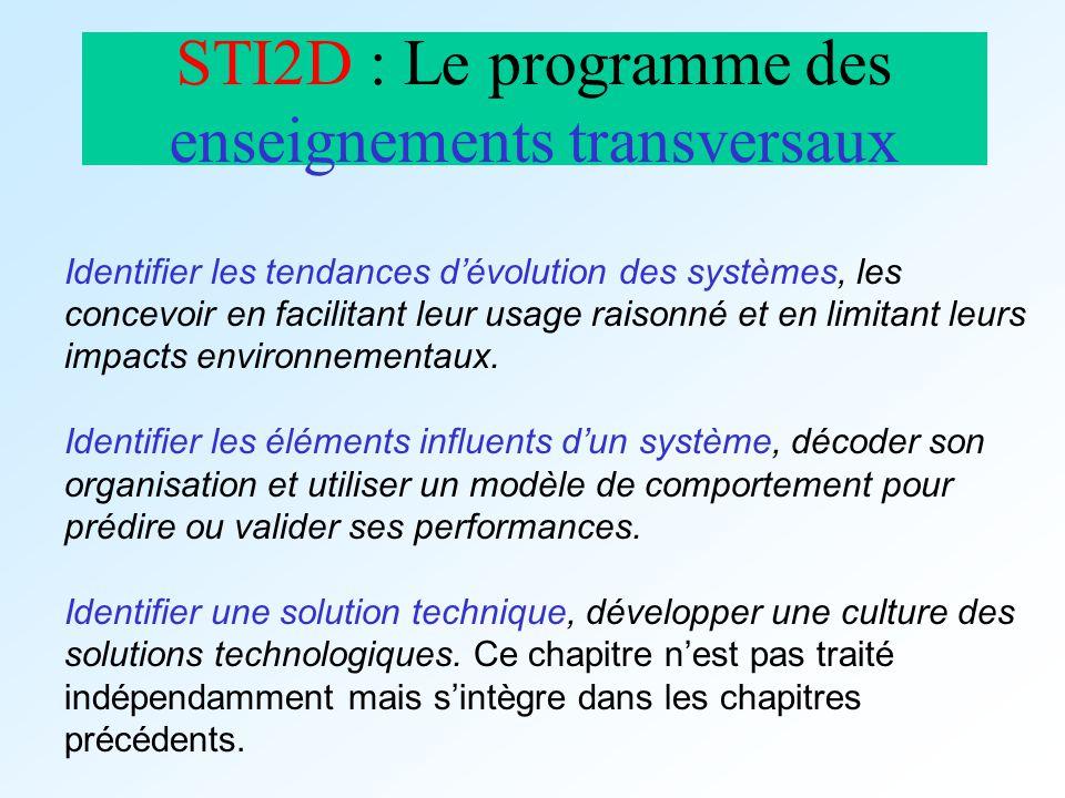 STI2D : Le programme des enseignements transversaux Identifier les tendances dévolution des systèmes, les concevoir en facilitant leur usage raisonné