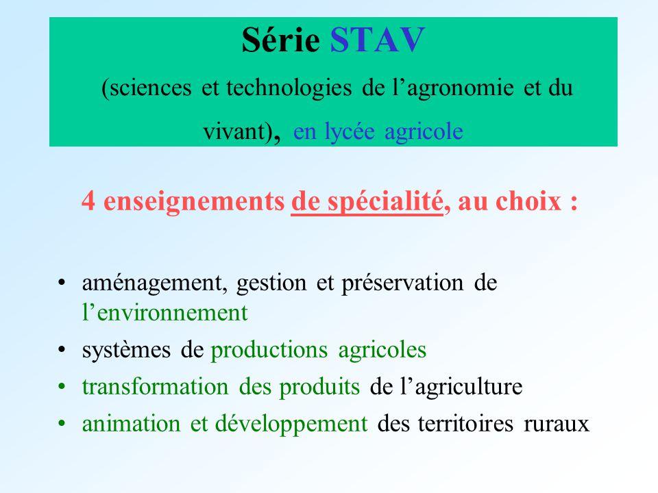 Série STAV (sciences et technologies de lagronomie et du vivant), en lycée agricole 4 enseignements de spécialité, au choix : aménagement, gestion et