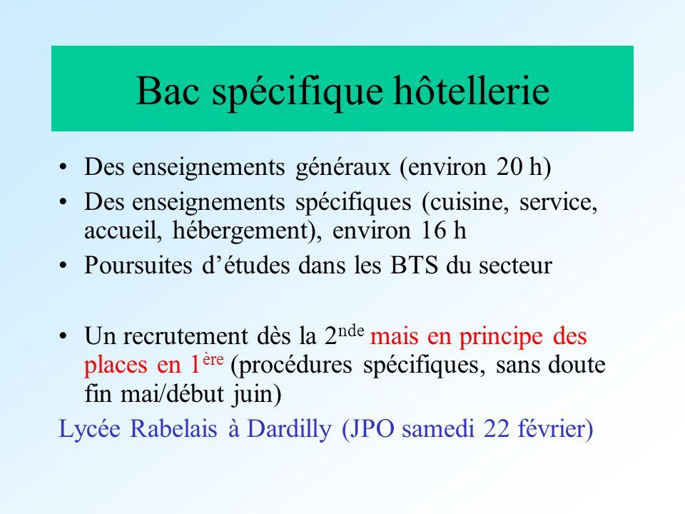 Bac spécifique hôtellerie Des enseignements généraux (environ 20 h) Des enseignements spécifiques (cuisine, service, accueil, hébergement), environ 16