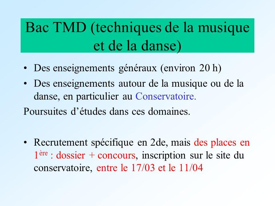 Bac TMD (techniques de la musique et de la danse) Des enseignements généraux (environ 20 h) Des enseignements autour de la musique ou de la danse, en