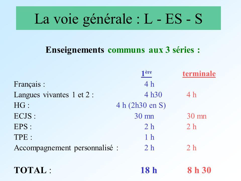 La voie générale : L - ES - S Enseignements communs aux 3 séries : 1 ère terminale Français : 4 h Langues vivantes 1 et 2 : 4 h30 4 h HG : 4 h (2h30 e