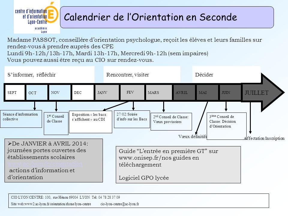DEC FEV De JANVIER à AVRIL 2014: journées portes ouvertes des établissements scolaires www.ac-lyon.fr/orientation actions dinformation et dorientation