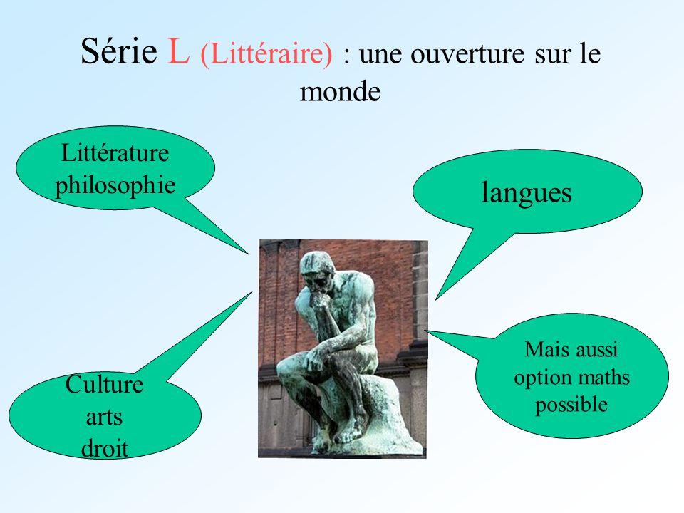 Série L (Littéraire) : une ouverture sur le monde langues Littérature philosophie Culture arts droit Mais aussi option maths possible