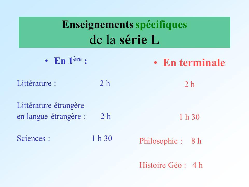 Enseignements spécifiques de la série L En 1 ère : Littérature : 2 h Littérature étrangère en langue étrangère : 2 h Sciences : 1 h 30 En terminale 2