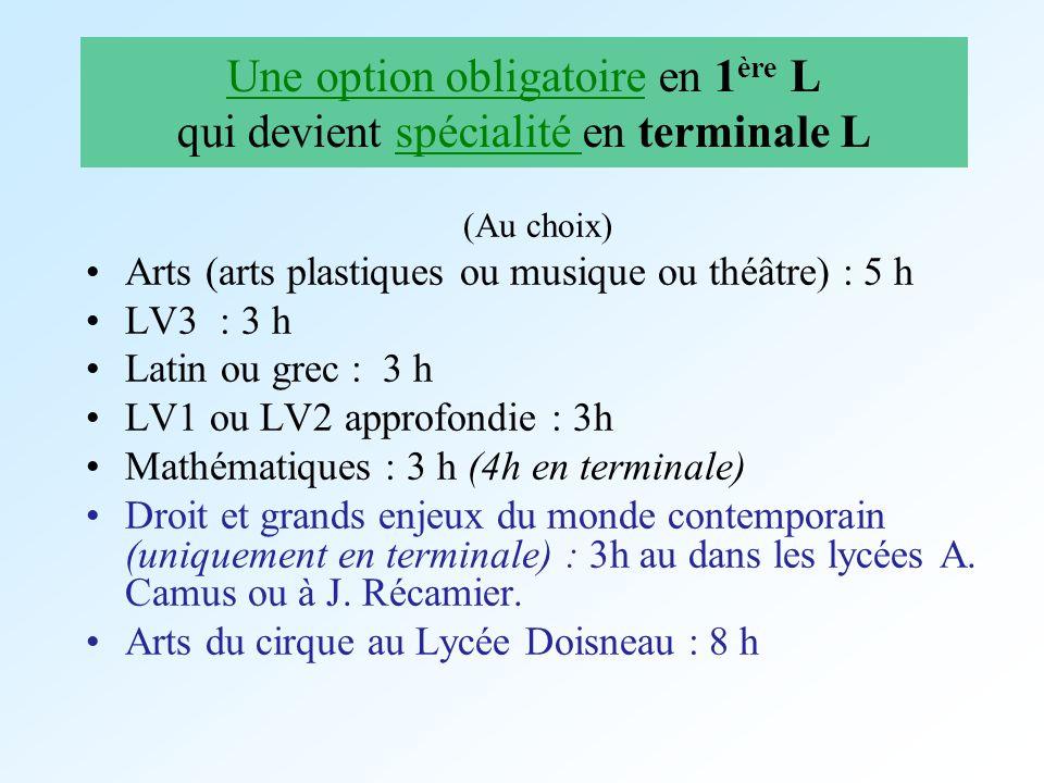 Une option obligatoire en 1 ère L qui devient spécialité en terminale L (Au choix) Arts (arts plastiques ou musique ou théâtre) : 5 h LV3 : 3 h Latin