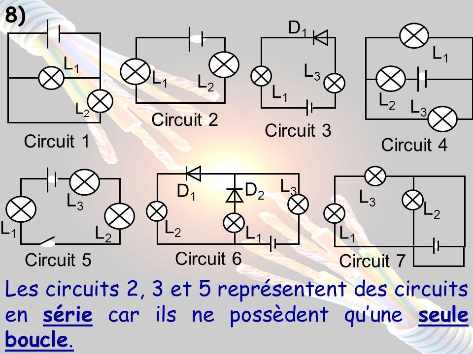 9) Les circuits 1, 4, 6 et 7 représentent des circuits avec dérivations car ils possèdent plusieurs boucles contenant le générateur et des récepteurs.
