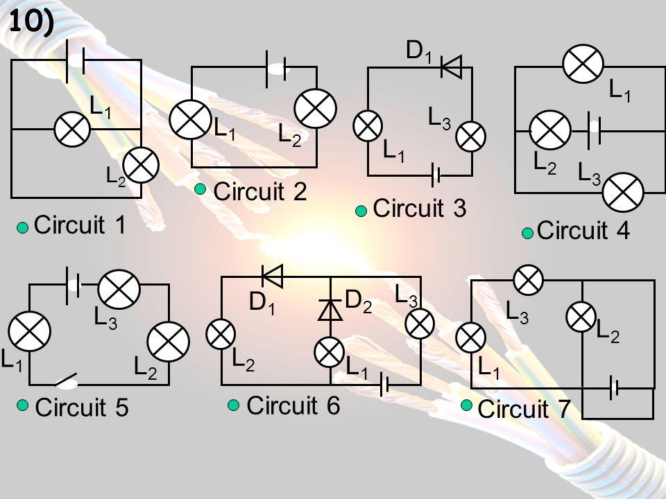Circuit n°1 : Circuit n°1 : toutes les lampes brillent car les boucles qui les relient au générateur sont fermées : le courant électrique peut donc traverser toutes les lampes.