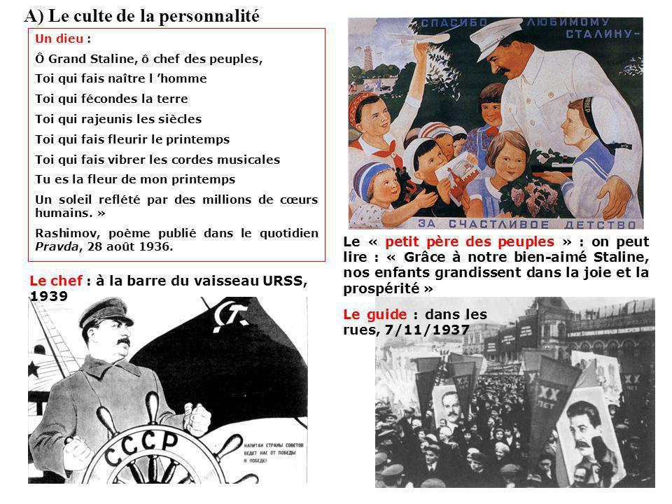 III. Un régime totalitaire A) Le culte de la personnalité B) Lencadrement de la société C) La terreur stalinienne