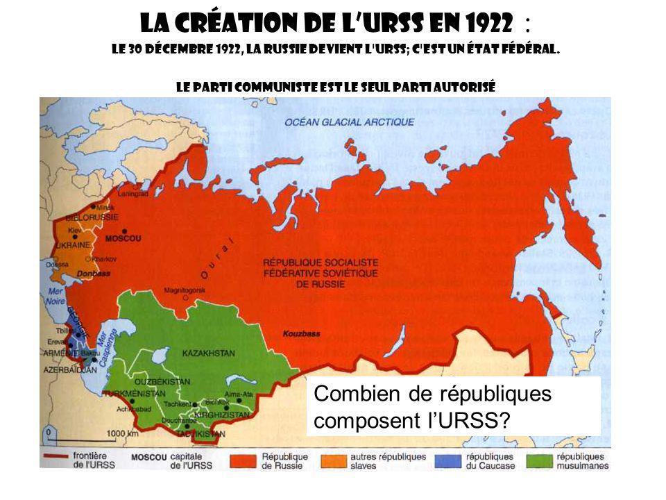 La création de lURSS en 1922 : Le 30 Décembre 1922, la Russie devient l URSS; c est un état fédéral.