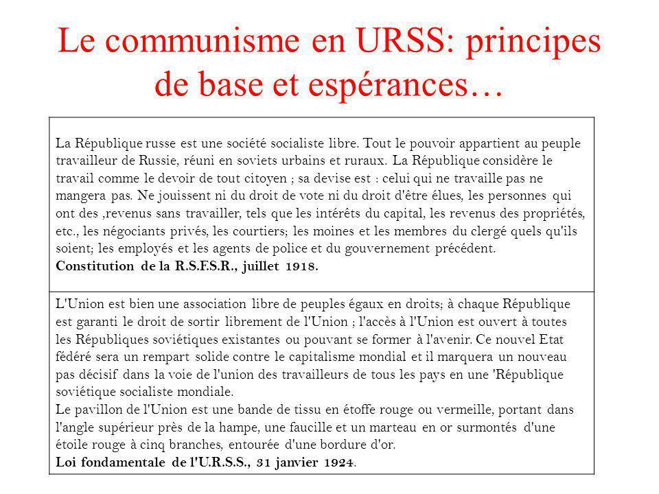 La création de lURSS en 1922 : Le 30 Décembre 1922, la Russie devient l'URSS; c'est un état fédéral. Le parti communiste est le seul parti autorisé Co