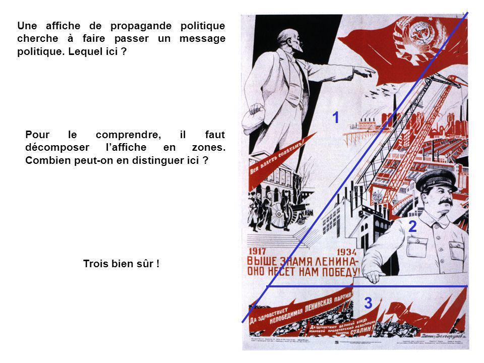 Une affiche de propagande politique cherche à faire passer un message politique.