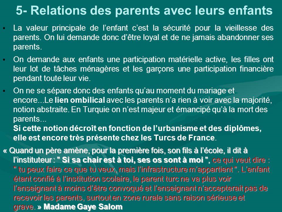 5- Relations des parents avec leurs enfants La valeur principale de lenfant cest la sécurité pour la vieillesse des parents. On lui demande donc dêtre