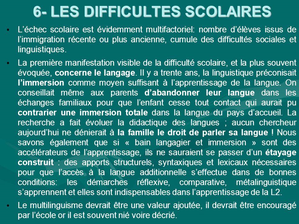6- LES DIFFICULTES SCOLAIRES Léchec scolaire est évidemment multifactoriel: nombre délèves issus de limmigration récente ou plus ancienne, cumule des difficultés sociales et linguistiques.
