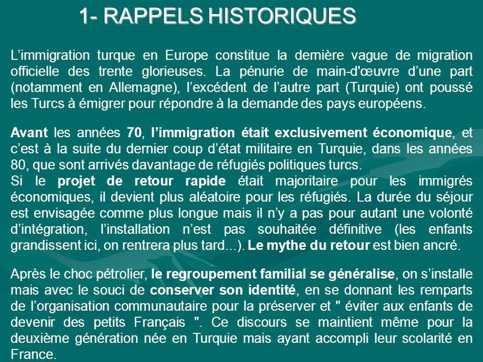 1- RAPPELS HISTORIQUES Limmigration turque en Europe constitue la dernière vague de migration officielle des trente glorieuses.