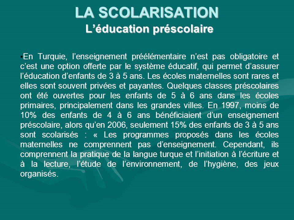 LA SCOLARISATION Léducation préscolaire En Turquie, lenseignement préélémentaire nest pas obligatoire et cest une option offerte par le système éducat