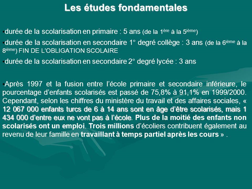 Les études fondamentales Les études fondamentales durée de la scolarisation en primaire : 5 ans (de la 1 ère à la 5 ième ) durée de la scolarisation e