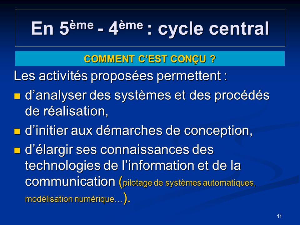 En 5 ème - 4 ème : cycle central Les activités proposées permettent : danalyser des systèmes et des procédés de réalisation, danalyser des systèmes et
