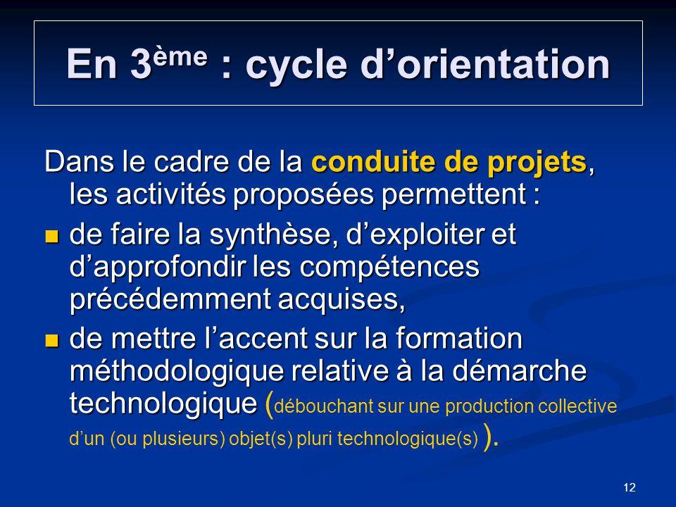 En 3 ème : cycle dorientation Dans le cadre de la conduite de projets, les activités proposées permettent : de faire la synthèse, dexploiter et dappro