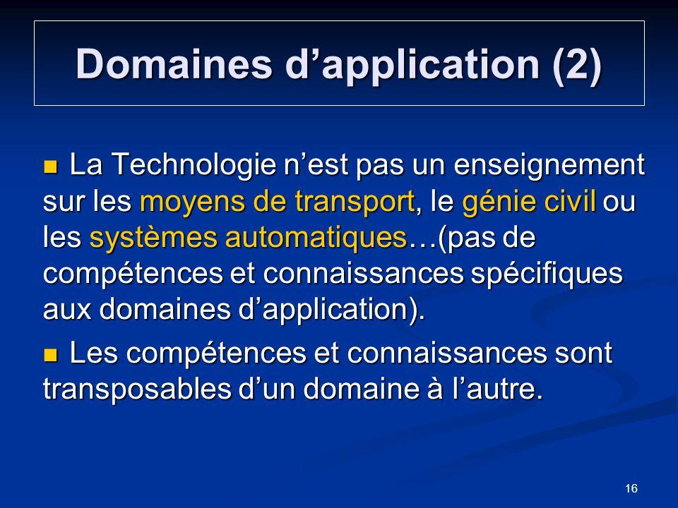 Domaines dapplication (2) La Technologie nest pas un enseignement sur les moyens de transport, le génie civil ou les systèmes automatiques…(pas de com