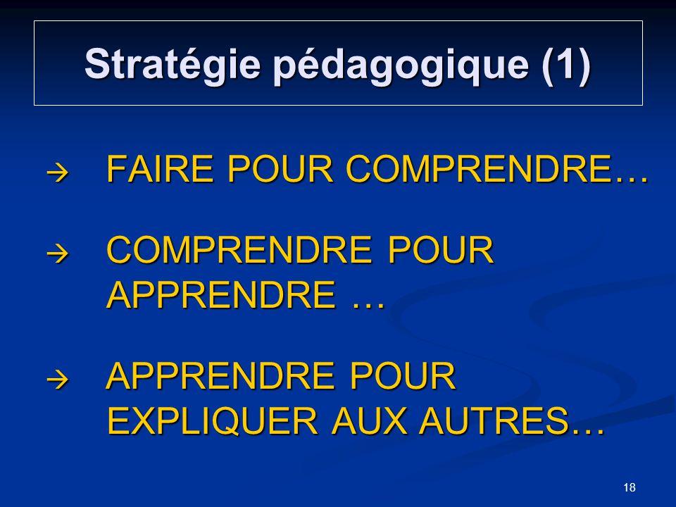 Stratégie pédagogique (1) FAIRE POUR COMPRENDRE… FAIRE POUR COMPRENDRE… COMPRENDRE POUR APPRENDRE … COMPRENDRE POUR APPRENDRE … APPRENDRE POUR EXPLIQU