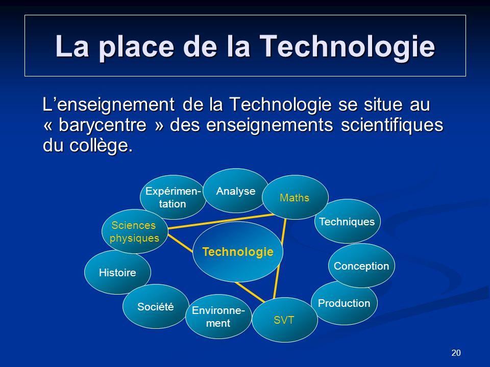La place de la Technologie Lenseignement de la Technologie se situe au « barycentre » des enseignements scientifiques du collège. Expérimen- tation Hi