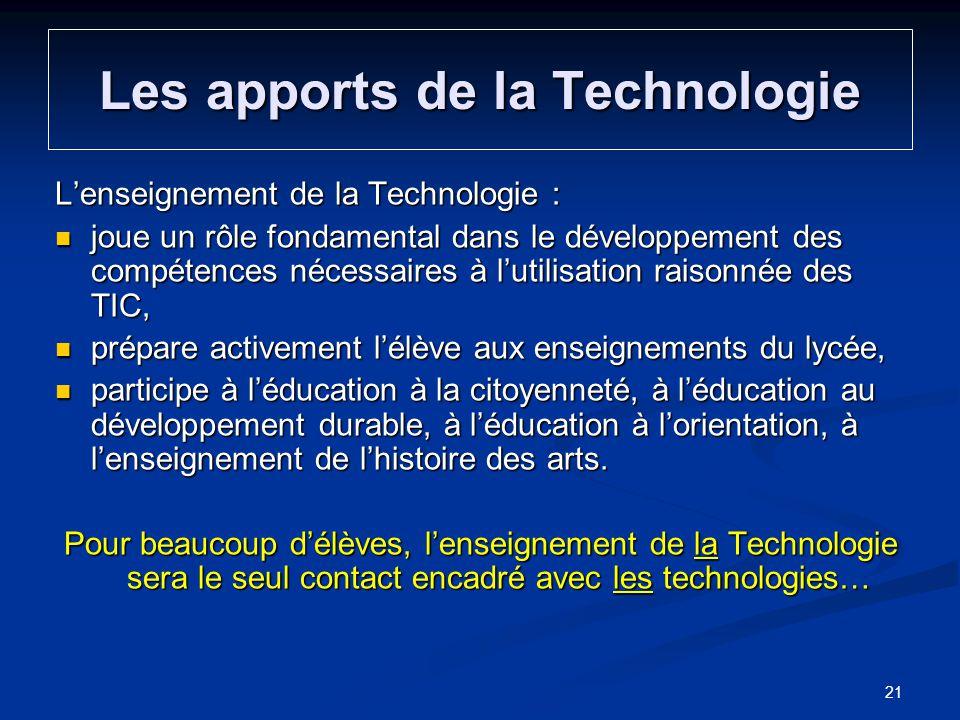 Lenseignement de la Technologie : joue un rôle fondamental dans le développement des compétences nécessaires à lutilisation raisonnée des TIC, joue un
