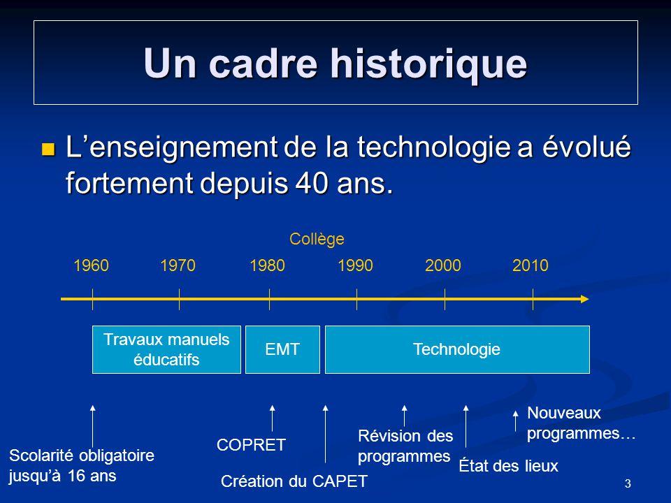 Un cadre historique Lenseignement de la technologie a évolué fortement depuis 40 ans. Lenseignement de la technologie a évolué fortement depuis 40 ans