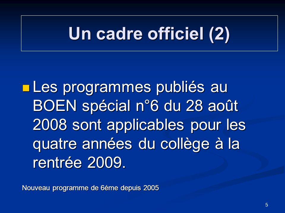 Les programmes publiés au BOEN spécial n°6 du 28 août 2008 sont applicables pour les quatre années du collège à la rentrée 2009. Les programmes publié