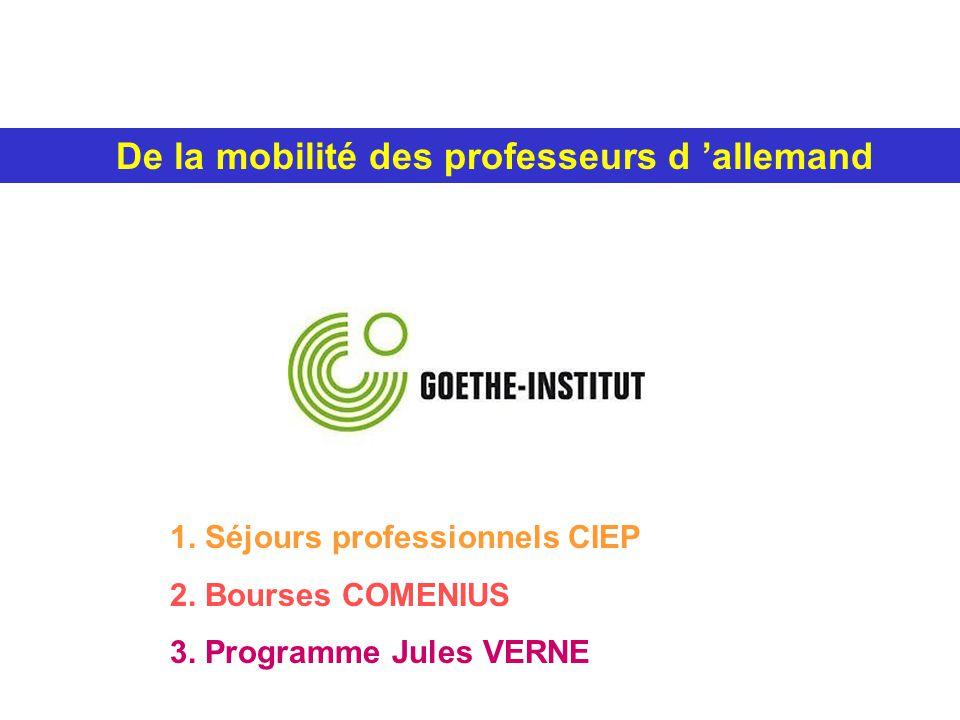 De la mobilité des professeurs d allemand 1.Séjours professionnels CIEP 2.