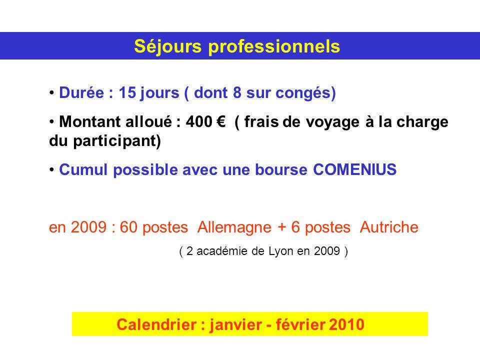 Séjours professionnels Durée : 15 jours ( dont 8 sur congés) Montant alloué : 400 ( frais de voyage à la charge du participant) Cumul possible avec une bourse COMENIUS en 2009 : 60 postes Allemagne + 6 postes Autriche ( 2 académie de Lyon en 2009 ) Calendrier : janvier - février 2010