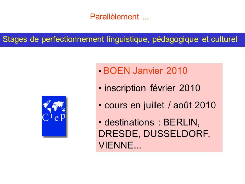 Stages de perfectionnement linguistique, pédagogique et culturel BOEN Janvier 2010 inscription février 2010 cours en juillet / août 2010 destinations : BERLIN, DRESDE, DUSSELDORF, VIENNE...